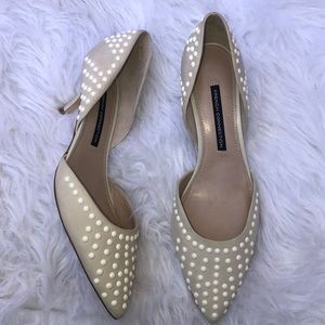 French Connection Efina Cream Studded Pumps Size 9